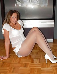 several mature women wearing nylon stockings and crotchless pantyhose fuck on guy milfpicshere.com